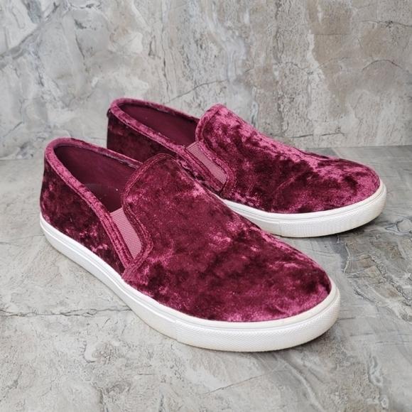Steve Madden Shoes - Steve Madden Gema Red Velvet Slip-on Sneakers Size